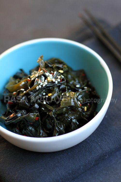 Seaweed is a healthy ingredient and this seaweed salad recipe is made of Korean dried seaweed, salt, sugar, rice vinegar, sesame oil and chili flakes.