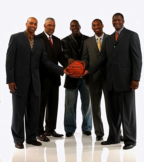 "Vince Carter, Julius ""Dr. J"" Erving, Michael Jordan, Kobe Bryant and Dominique Wilkens."