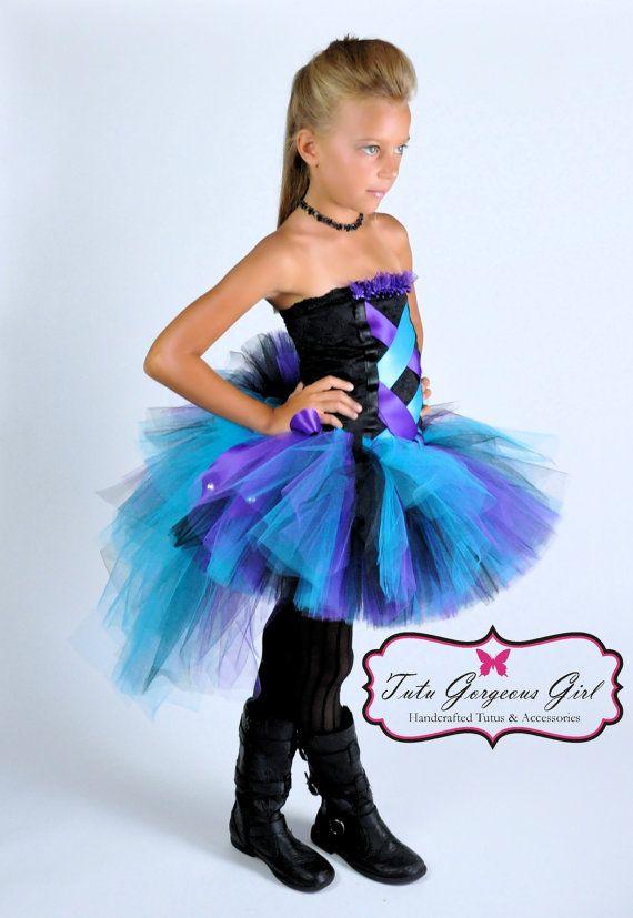 Black Purple Turquoise Bustle Tutu and Corset Style Top...Rock Star Costume, Diva Tutu...Toddler, Girls Sizes . . . SO GLAM