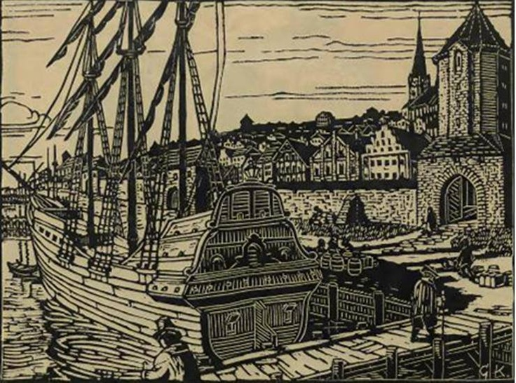 Das Baumtor im Stettiner Hafen, 1827 abgerissen  Linolschnitt von Georg Köhn 'Der Hafen' In: Alten Stettin, 1925