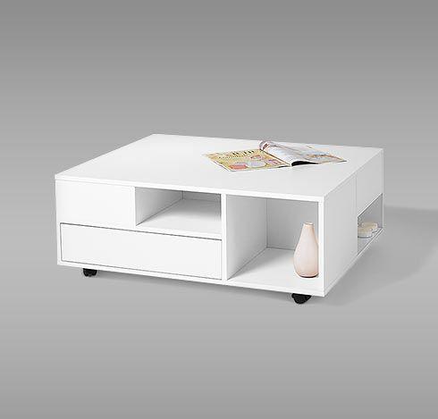 Konferenční stolek s kolečky, bílý