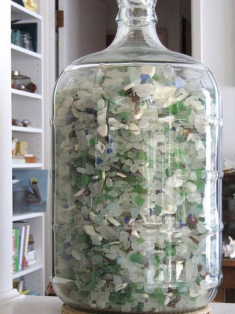 """Collecting beach glass ~ """"Almost full to the brim"""" - by Barb"""