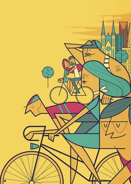 Pedalare poster illustrazione - riding on a bike by Ale Giorgini