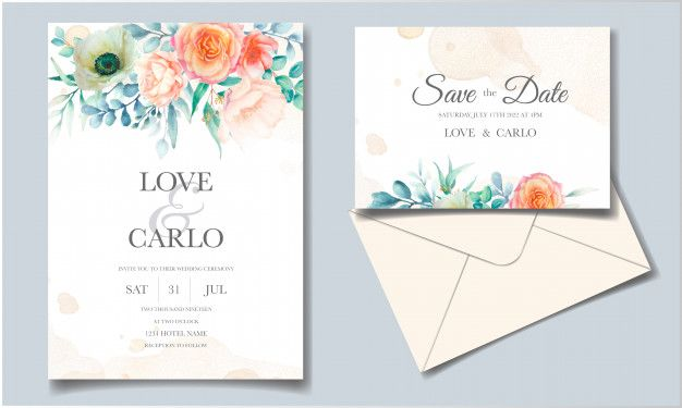 Wedding Invitation Template Set With Beautiful Watercolor Flower And Greenery Leaves In 2020 Flower Wedding Invitation Nature Wedding Invitations Floral Wreath Wedding Invitation