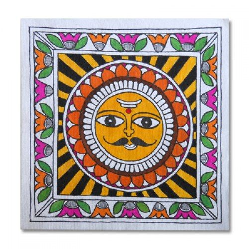 Madhubani painting featuring the sun lord