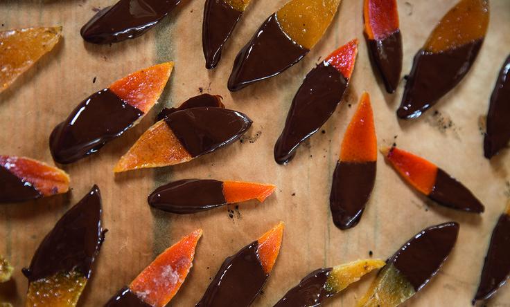 Chocolate-dipped orange peel. Recipe featured in The Great NZ Cookbook.