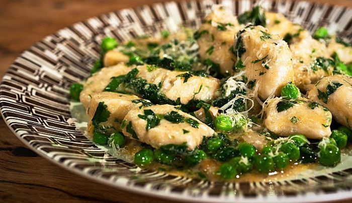 Ricotta Cheese Gnocchi with Buttered Peas & Mint