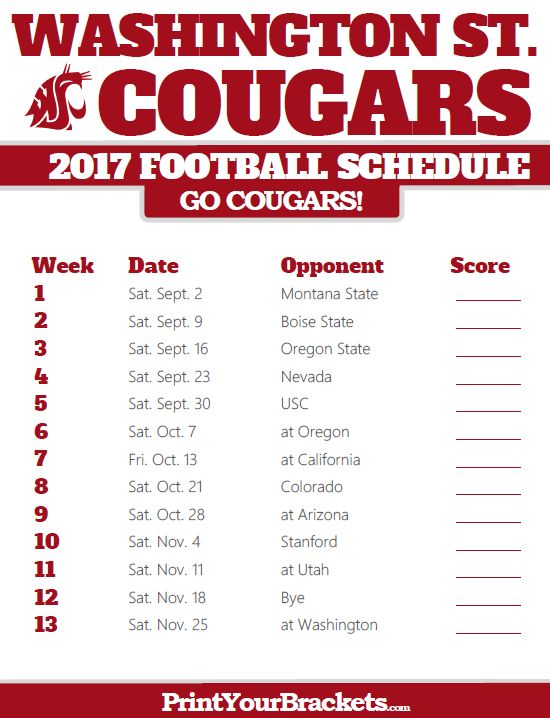 2017 Washington State Cougars Football Schedule