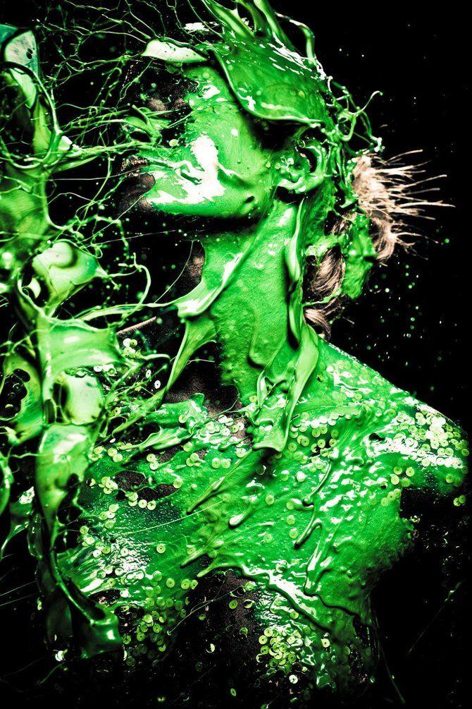 Gabriel Wickbold | Portrait - Green - Paint - Liquid - Photography - Pose Inspiration - Pose Idea - Editorial