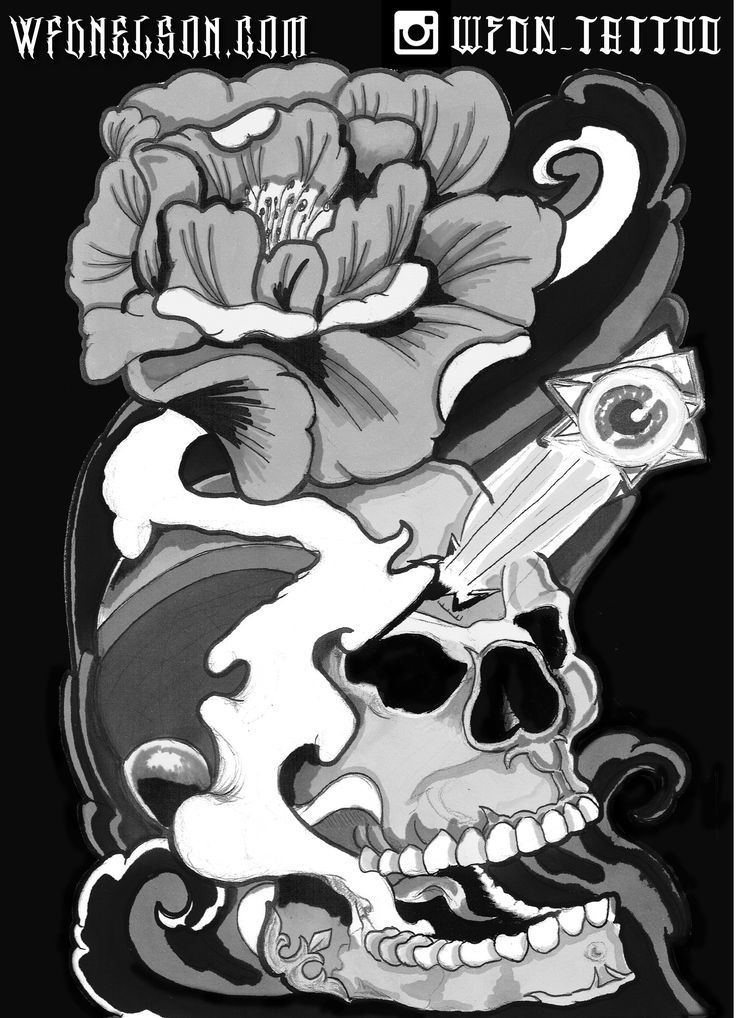 Tibetan Skull with Lotus Tattoo Flash - Follow Me On Instagram @WFDN_Tattoo  #skull #skulltattoo #skullflash #lotus #lotustattoo #illustration #3rdeye #thirdeye