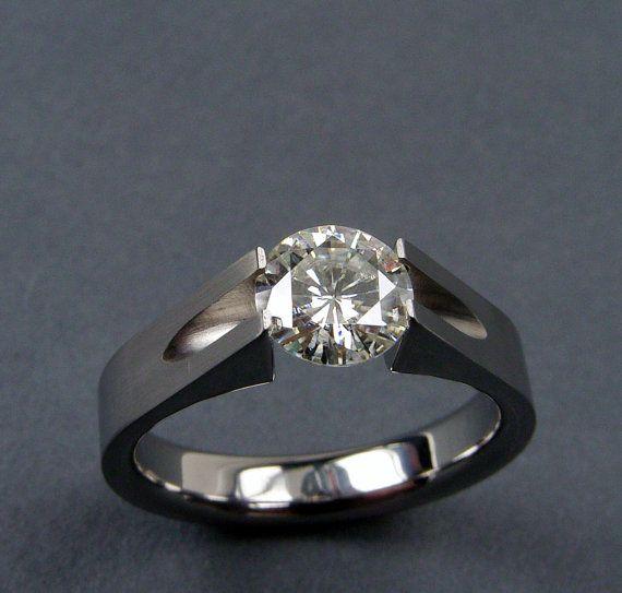 Moissanite Engagement Ring Titanium Tension-Set -- by hersteller: