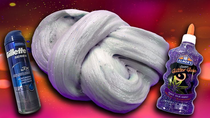 How To Make Fluffy Glitter Slime with Gel Shaving Cream! All you need is Elmer's PVA glitter glue, gel shaving cream, and contact lens solution.