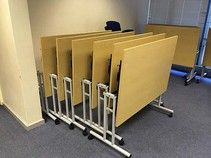Folding tables in various sizes - all priced the same.
