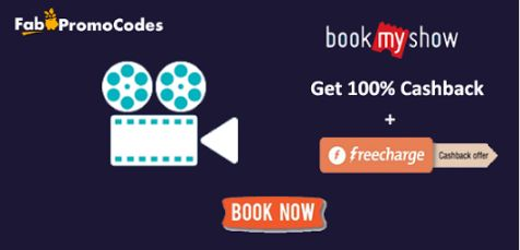 #Bookmyshow Weekend special #Offer : Get Rs 250 + Rs 150 #Freecharge Cashback On Movie Tickets.