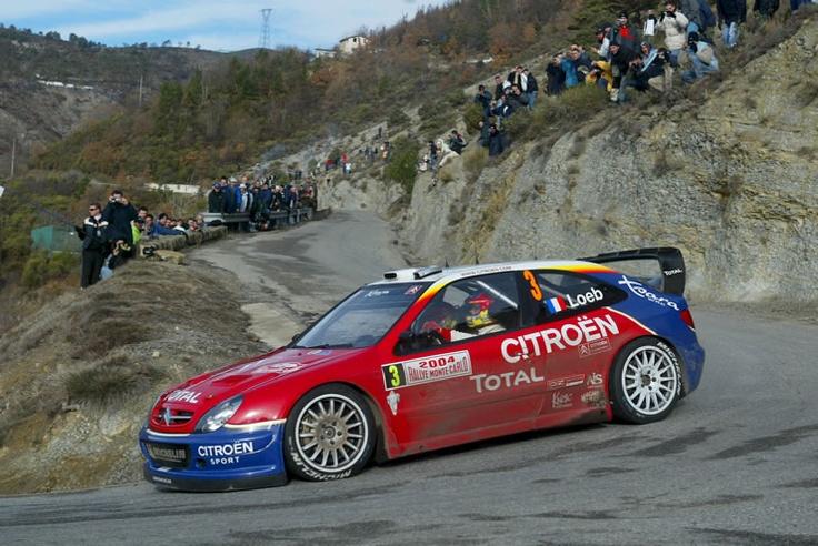 2004. WRC. Rally Monte Carlo. Sebastien Loeb driving his Citröen.