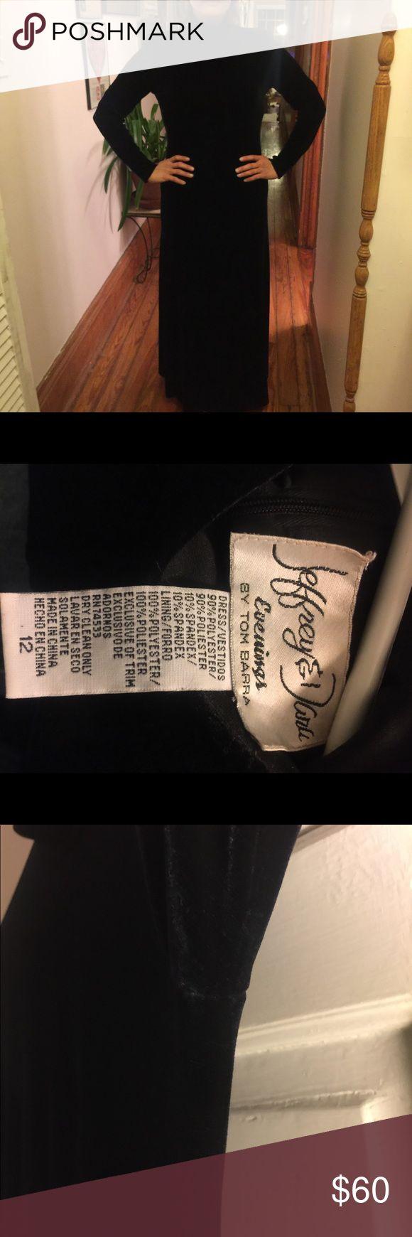Long Black Velvet Dress Turtleneck, absolutely no signs of wear, will fit size 8-12 Tom Barrara Dresses Long Sleeve