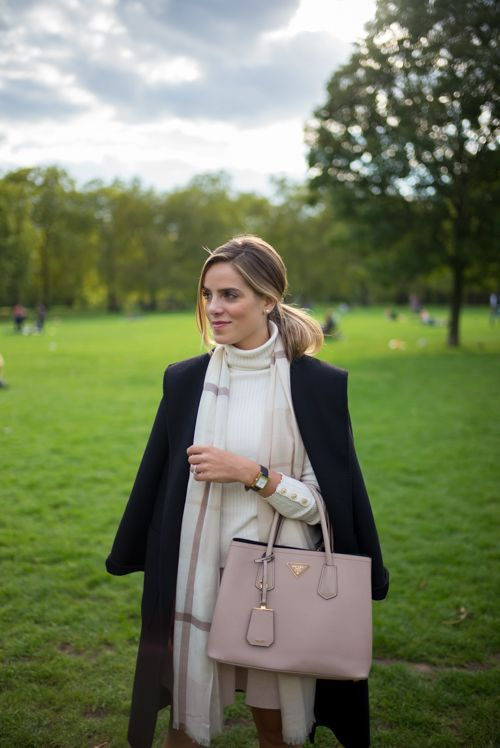 Feels Like Fall, wearing J.McLaughlin turtleneck, skirt, and scarf with my Max Mara coat and Prada bag::