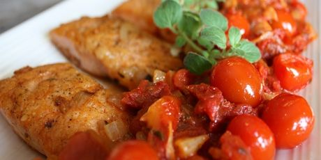 Pan Rushed Salmon with Three Tomatoes (Chef Michael Smith)