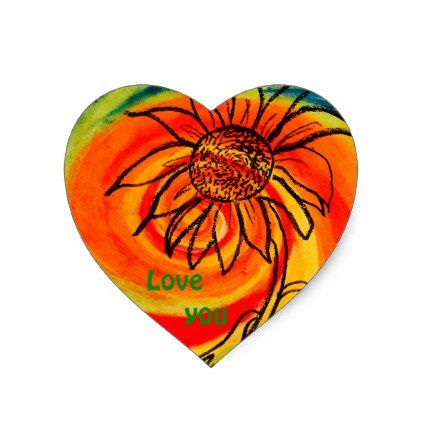 """Love You"" Sunflower Heart Sticker - sunflowers sunflower gifts floral flowers cyo gift idea unique"