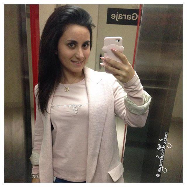 "Instagram @_mysweetworldbylaura_: ""Buenas nochess amores❤️ No he podido esperar para ponerme mi collar nuevo de @hopsjoyas mañana os lo enseño en detalle😊 💞Blazer @zara (old) 💞Camiseta @mayoralmodainfantil (new) 💞Carcasa iPhone @tous_us (new) 💞Depilación con hilo de cejas @sundarabelleza  #happy #madrid #style #instablogger #picoftheday #octubre #miercoles #f4f #instadaily #ootd #outfit #instalike #instagramers #love #live #hopsjoyas #instalove #picoftheday"" Joya: Collar Diana Corazón"