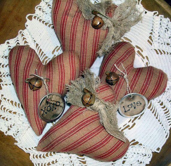 Primitive Volkskunst Valentines Heart Ornies von FromTheFarmPrims