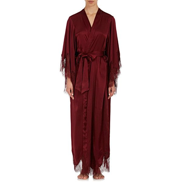 Raven & Sparrow by Stephanie Seymour Women's Margaret Lace-Trimmed... (€810) ❤ liked on Polyvore featuring intimates, robes, oxblood, kimono robe, dressing gown, bath robes, kimono bath robe and floral kimono robe