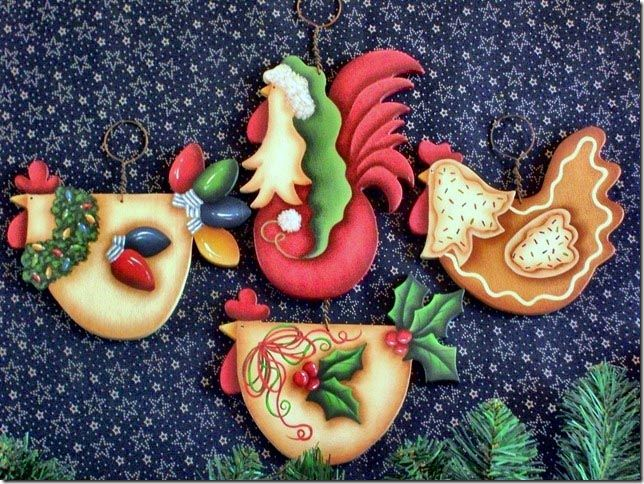 Free Tole Painting Patterns Chickens | The Decorative Painting Store: Funky Christmas Chickens, Cyndi Combs