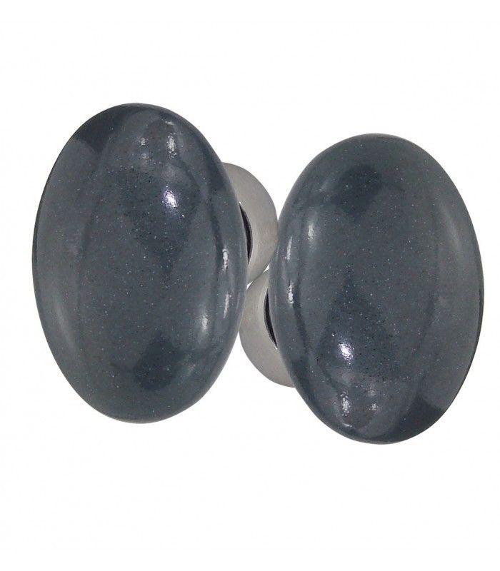 Poignée double OVALE pour porte intérieure porcelaine de LIMOGES Bleu cendré sur cuvette nickelée brossée - 1001poignées - SAS VIPAQ