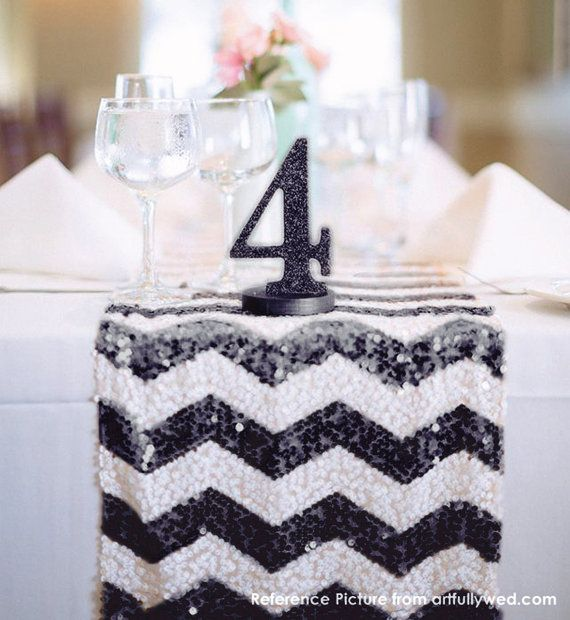 Chevron Black and White Sequin Table Runner by All4partytime