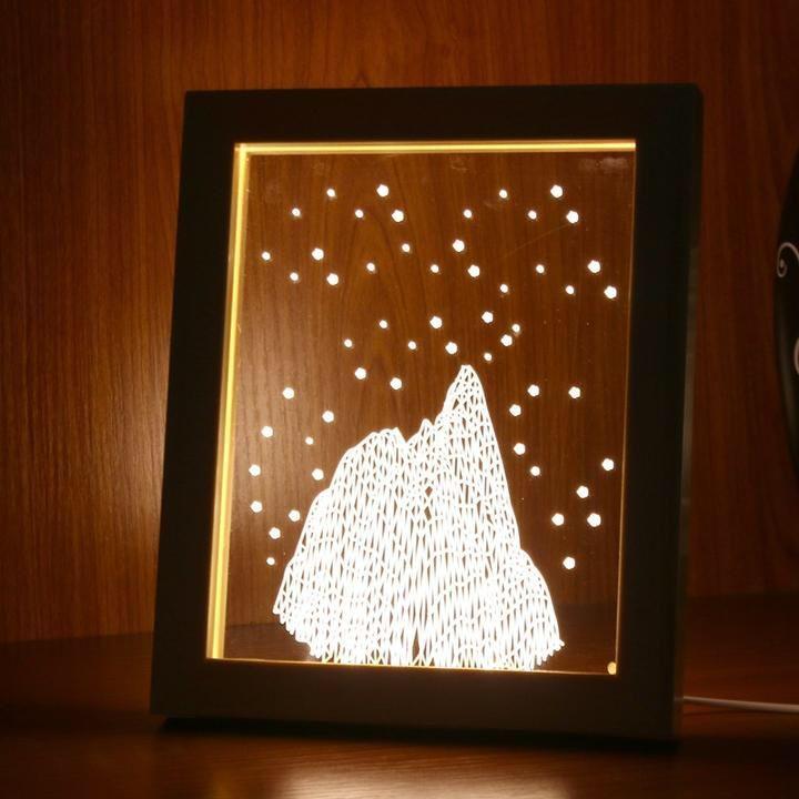 Wooden Framw Led Lamp Led Lamp Photo 3d Decoration Cadre Photo