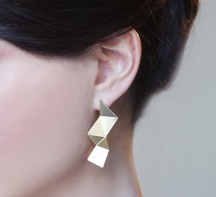 Origami Earrings, gold silver plated post wood geometric jewelry
