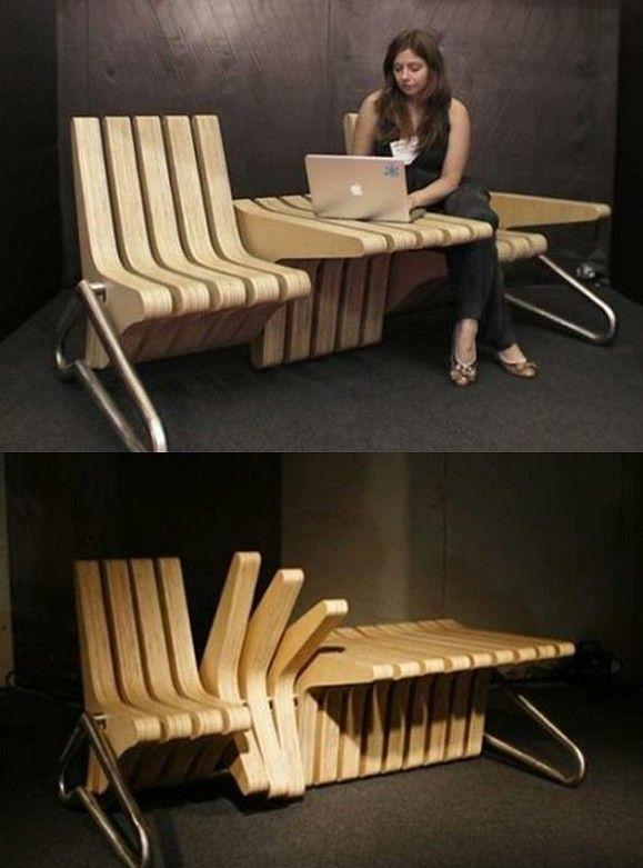 Chaise-table-banc, un objet design très bien pensé ! - 10 objets et astuces indispensables pour vous simplifier la vie !