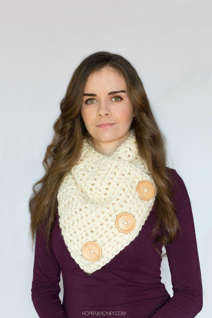 Basic Chunky Button Scarf - Crochet Pattern