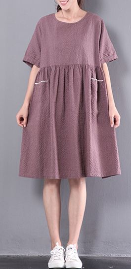 casual patchwork linen dress plus size plaid sundress short sleeve women dress
