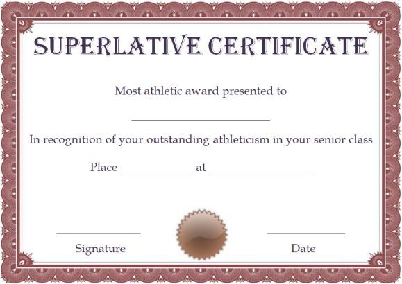 free superlative certificate template