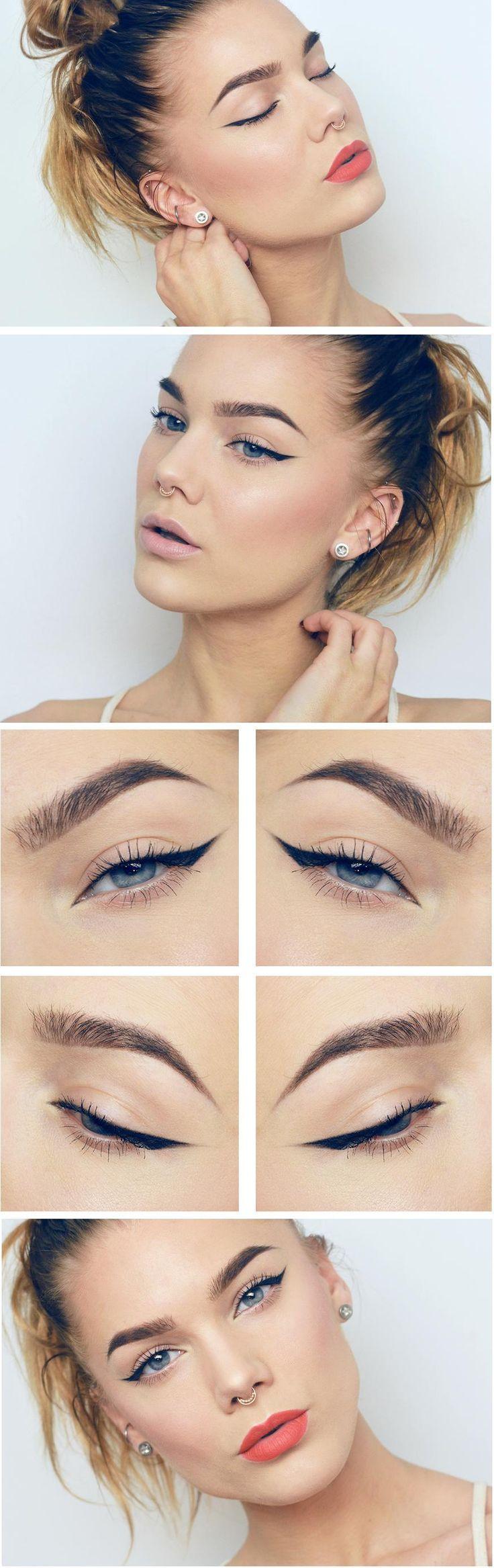 nude vs red + winged liner | makeup @lindahallberg