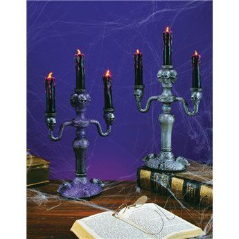 glitter candleabra with flickering lights halloween decoration - Glitter Halloween Decorations
