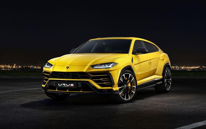 Download wallpapers Lamborghini Urus, 2019, 641HP, yellow sports SUV, new cars, yellow Urus, Italian cars, Lamborghini