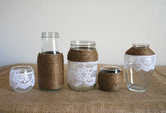 5 Lace and Twine Jars and Candle Holders. Rustic, Outdoor Wedding Decor, Shower Decor, or Home Decor.   Blustery Charm