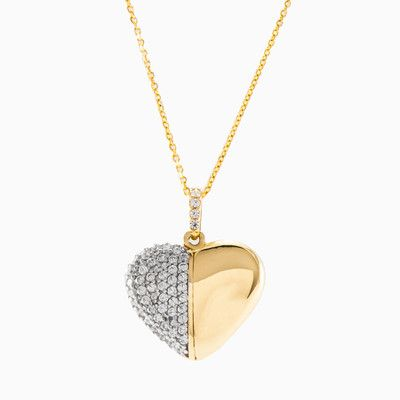 Half of this heart is formed from plain but polished 14K yellow gold, while the other half is filled with white crytals, creating a beautiful picture of the way that the hearts of two people in love beat as one.