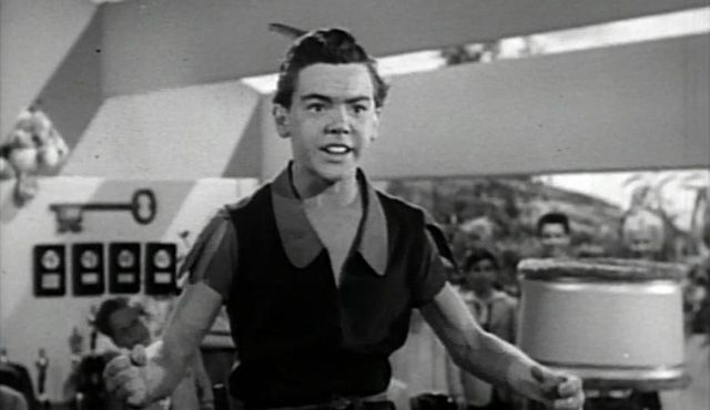 """""""Child actor Bobby Driscoll, perhaps the most famous Peter of them all, provided the voice and animation model for Walt Disney's animated classic Peter Pan. Driscoll was a Disney favorite after appearing in the producer's first live-action film Song of the South."""""""
