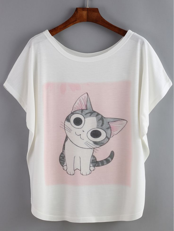Camiseta manga de murciélago gato-(Sheinside)
