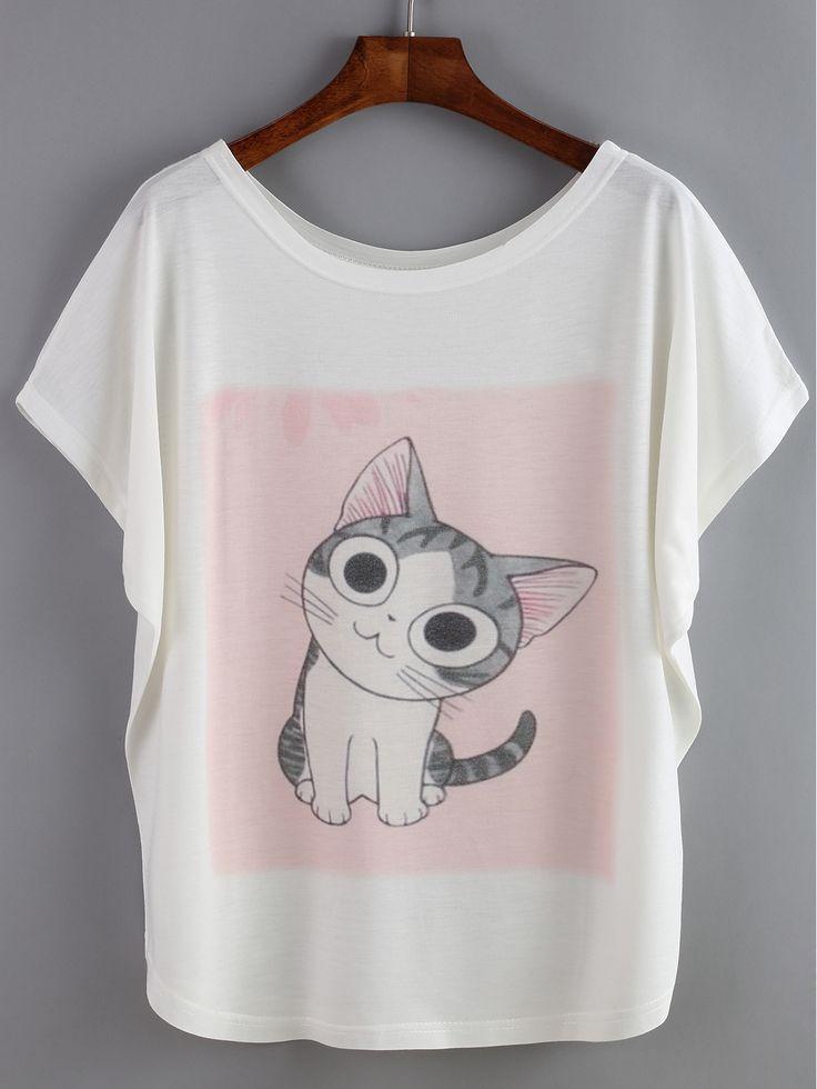 Camiseta+manga+de+murciélago+gato+7.41