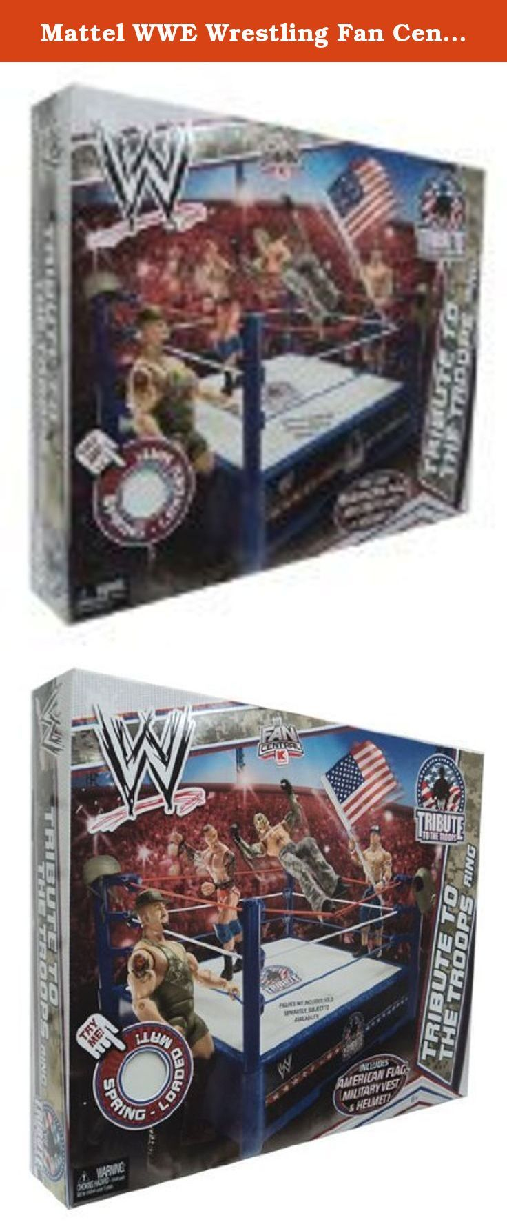 Mattel WWE Wrestling Fan Central Exclusive Tribute To The Troops Ring Includes American Flag Military Vest Helmet!. It's shipped off from Japan.