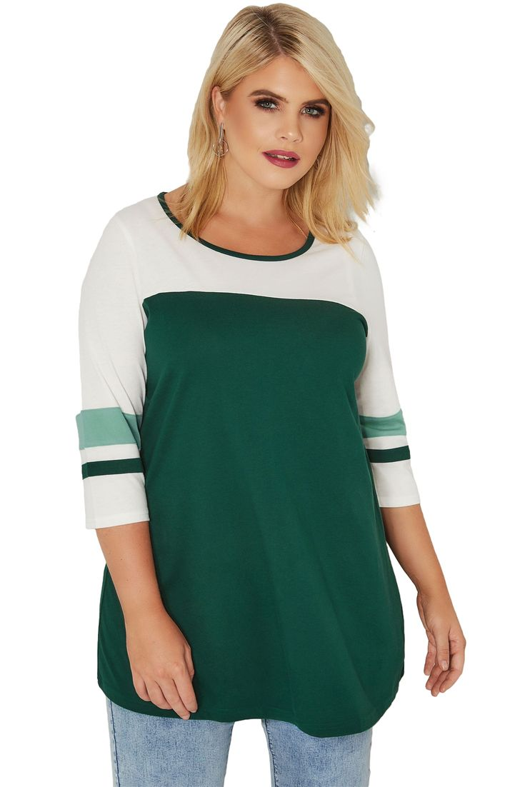 Stylish Green White Color Block Quarter Sleeved Plus Size Top