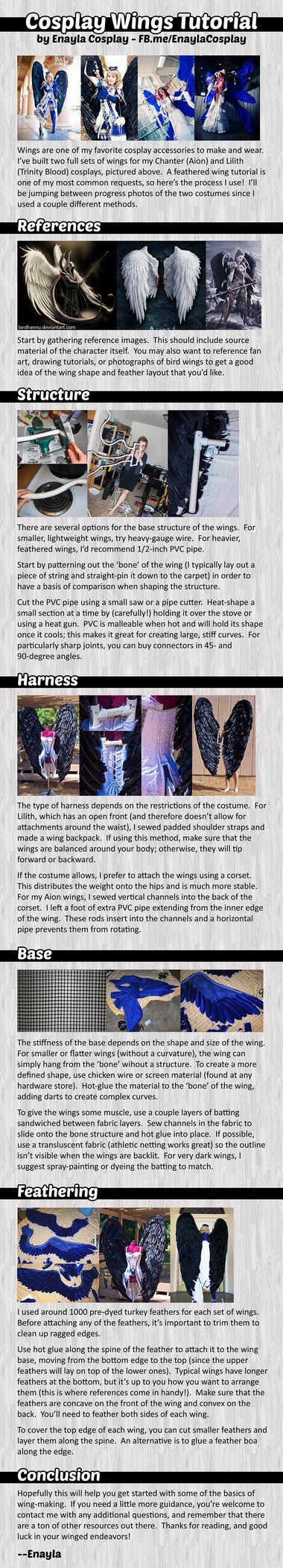 My wing tutorial is now complete! I tried to cover as much of my process as possible for making feathered cosplay wings. I hope you find this helpful ^^ ________________________________...