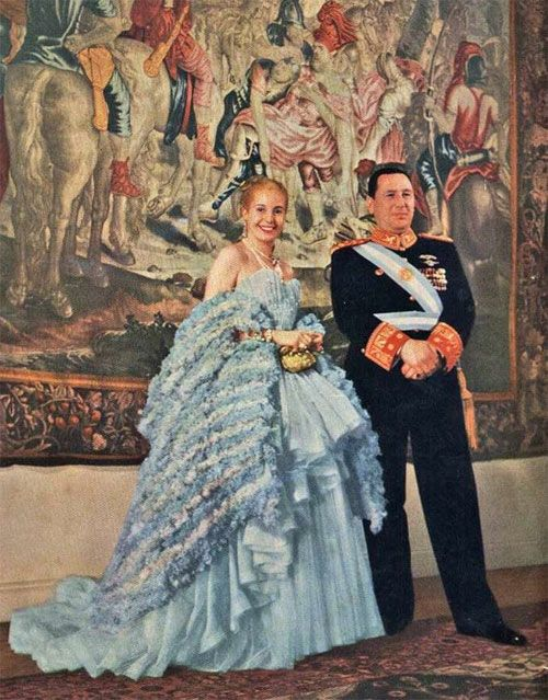 """The only queen I ever dressed was Eva Peron.""  Christian Dior  Eva Peron in Christian Dior ballgown"