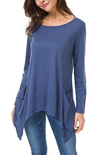 f5d1276b4c0 Urban CoCo Women s Plus Size Swing Pocket Tunic Tops Loose Tee Shirts