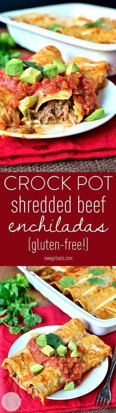 Gluten-free Crock Pot Shredded Beef Enchiladas are seriously succulent. Skip the restaurant and make easy enchiladas at home. #glutenfree   iowagirleats.com