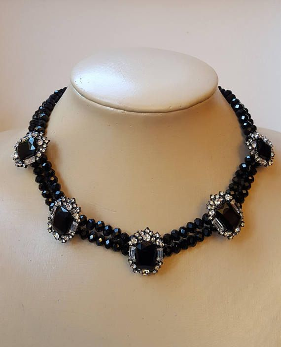 Check out this item in my Etsy shop https://www.etsy.com/ca/listing/563782137/black-glass-rhinestone-chokertrending